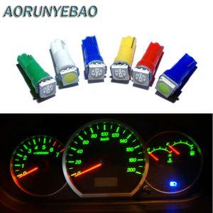 AORUNYEBAO de voiture intérieur blanc rouge T5 LED 1 LED SMD Tableau de bord Indicateur d'avertissement Wedge 1 voiture Ampoule Lampe 12V