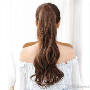 женская мода длинные вьющиеся волосы парики девушки большие волнистые хвост парики пони волосы шиньон черный / темный / светло-коричневый