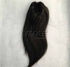 Европейский Реми волос кутикулы выравниванием Virgin Hair Real # 27 # 613 Straight хвостик 120г Натуральный черный Blonde НЕОБРАБОТАННАЯ выдвижения волос