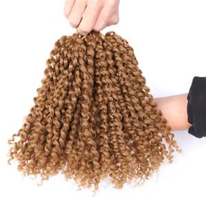 8 дюймов Marlybob вязание крючком наплетение волос вьющиеся вьющиеся вьющиеся Марлибоб Black Ombre серый синтетический поворот волос 90 г / шт. Синтетические крючком наращивания волос