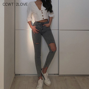 Black Skinny Demin Jeans Woman High Waist 2019 Hole Pencil Pants Long Gray Spring Autumn Ladies Casual Trouser Stretch