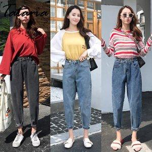 Tataria mujeres de la alta cintura suelta Denim Jeans para la Mujer de la vendimia Harem Jeans Mujer Harem Pantalones novio ocasional