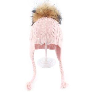 Child Hat Cotton Brand New Fashion 2019 Winter High Quality Knitted Warm Kids Braid Hats Baby Real Fur Pom Pom Bonnet