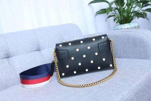 2020 GG icónica bolsos de hombro del bolso de los bolsos de las mujeres manera de los monederos de Crossbody del cuero auténtico Broadway metal abeja con las perlas 453778
