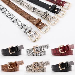 2019 Snake Pattern Thin Belt New Metal Pin Long Buckle Belt Ladies Dress Decorative Belts Women Faux Leather Straps Waistband