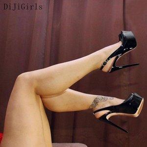 DiJiGirls Seksi Düğün Fetiş Ayakkabı 16 CM Yüksek Topuklar Peep toe Platformu Rugan Nighclub Ayakkabı Kadınlar 2020 T200615 pompaları