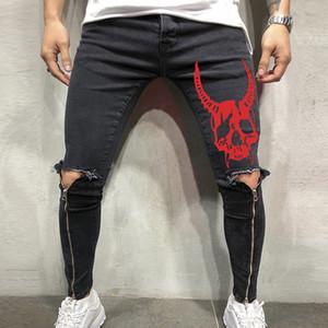 Uomini Skull vestiti 2019 Hip Hop Sweatpants Magro moto denim Pantaloni Zipper Designer foro jeans da uomo Plus Size Jeans