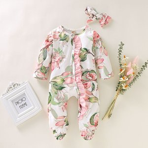 Stylish Print Romper set Newborn Infant Baby Girls Boys Footed Sleeper Romper Headband Clothes Outfits bebek tulum recem nascido