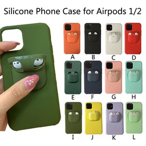2 em 1 Silicone Case telefone para Airpods 1/2 iPhone 11 Pro max 7 8 Plus 6 6S originais iPhone capa protetora