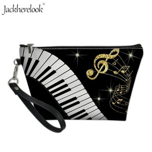 Jackherelook Mini Donne Travel Cosmetic Bag Gold Music Notes Organizer toilette sotrage Bag Art Piano Keyboard stampa Pouch