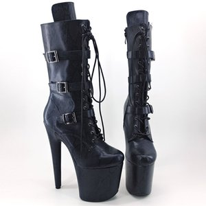 Leecabe Dark Navy snake 20CM 8Inch Women's Platform Sandals party High Heels Shoes Pole Dance boot