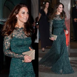 Las mujeres verde oscuro Kate Middleton del cordón lleno vestidos de noche larga cabida mangas Sheer Bateau cuello piso-longitud de los vestidos de la celebridad formal