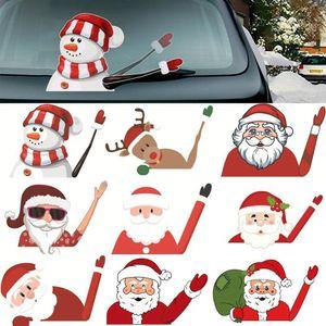 Ветровое стекло украшения Высокое качество Новогоднее украшение Санта-Клауса 3D ПВХ Размахивая автомобиля наклейки Styling стеклоочиститель Таблички сзади