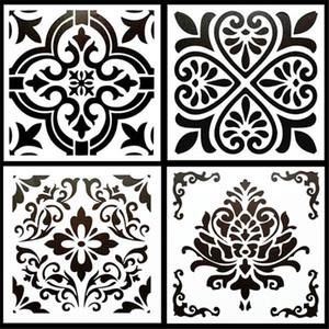 4PCS / PACK fai da te mestieri 15 * 15cm Vintage Design Stencil Modello Per Tile Piano Mobili pittura decorativa di goffratura Carte di carta