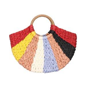 2019 Summer Femme Lune poignée supérieure sac fourre-tout à tricoter arc-en-Vintage Totes Straw Femmes Plage Sacs à main vacances