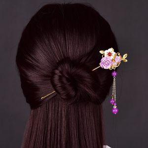 Temperamental Alloy Leaves Violet Synthetic Flower Hair Fork Natural Shell Long Tassel Crystal Beads Princess Step Shake