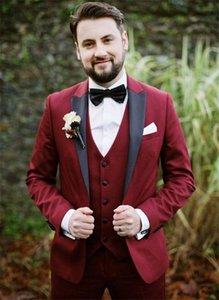 Custom Made Groomsmen Peak Black Lapel Groom Tuxedos Burgundy Men Suits Wedding Prom Dinner Best Man Blazer ( Jacket+Pants+Tie+Vest ) K260