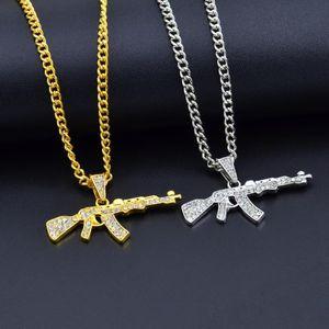 Сплав AK47 пистолет кулон ожерелье обледенелый горный хрусталь с хип-хоп Майами кубинская цепь золото серебро цвет мужчины женщины ювелирные изделия