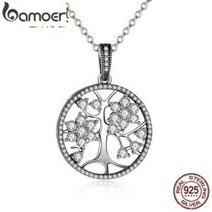 Bamoer Klasik 925 Ayar Gümüş Hayat Ağacı Yuvarlak Kadınlar Güzel Takı Için Kolye Kolyeler sevgililer Günü Hediye Psn013 J190616