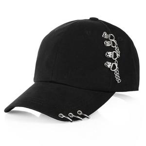 2019 Hat Sólidos Boné de beisebol com anéis camionista Moda Cotton Zipper Dad Hat Mulheres Homens Sun Cap