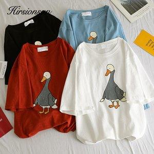 Hirsionsan fumetto stampato maglietta Donne Donne Bianco Estate New Anatra Graphic T-O-Neck sciolti T delle parti superiori T Shirt manica corta