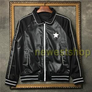 2020 Дизайнерская PU кожаная куртка мужская мужчины кожаная куртка верхнего качества PU Montage Жакеты дизайнер звезда печати пальто Hotselling