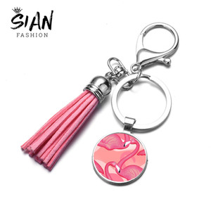 SIAN Cartoon Pink Flamingo Tassel Keychain Party Gift Phone Bag Charm Decoration 3D Printed Glass Dome Car Key Chain Accessories
