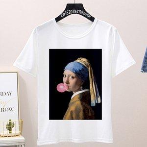 Girl with a Pearl Earring Printed T-shirt Summer Harajuku burlesque maiden T shirt fashion retro casual short-sleeved Tshirt Top