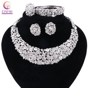 Women White Crystal Jewelry Sets With Earrings Statement Necklace Boho Trendy Necklace For Party Wedding Direct Selling