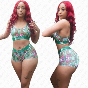 femmes d'été marque maillot de bain lettre design Imprimer Tenues Bar Casual + short 2 pièces tankini Sets D51902 Mode Ladies Beach Bikini
