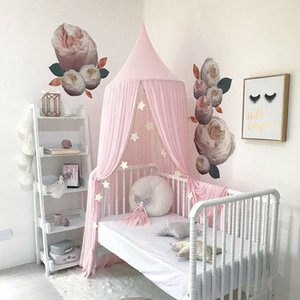 Kids Baby Bedroom Canopy Mosquito Net Dome Hanging Dome Lace Net Bedcover Fashion Curtain Bedding Room Solid Tent Home Textile