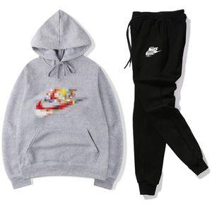 Erkek Eşofman Moda Nike Designer Kapüşonlular + pantolon 2 Parça Setler Katı Renk Marka Kıyafet Suits 2019 Yüksek Kalite Tracksuits Mens için womens