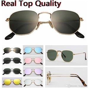 atacado nova coleção da marca Hexagonal óculos de sol de vidro Mulheres homens UV400 Moda Feminina Sun Glasses Espelho Verão Sunglass gafas 51mm 3548