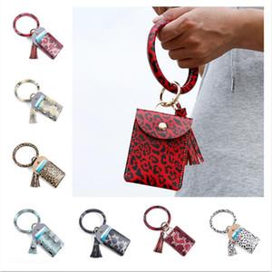 Femmes Bangle Porte-Monnaie bracelets Glands Keychain Porte-cartes Sac Trendy Leopard PU cuir Bracelets Porte-clés Portefeuilles zéro E22909
