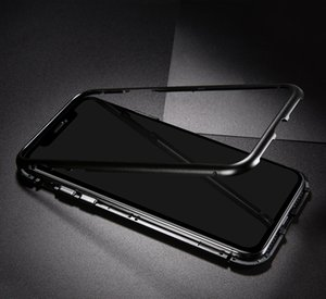 Magnetic Adsorption Metal Phone Case for Samsung Galaxy Note 10 pro A10S A20S A70S M30S A20E A51 A71 Full Coverage Frame Tempered Glass 120P