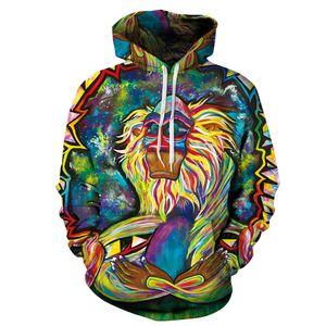 Graffiti Rasta Monkey Hoodie Men Women Long Sleeve 3D Sweatshirts Oil Printing Hooded Hoodies Plus Size S-3XL