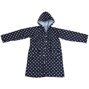 Outdoor Women Waterproof Riding Clothes Raincoat Poncho Pocket Polka Dot Hooded Knee Long Rainwear Nylon Navy Blue