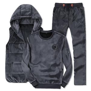 agasalho para o homem Winter Fashion Men Sporting Suit Hoodie Vest Calças Camisola ouro de veludo 3 peças conjunto de agasalho para Vestuário