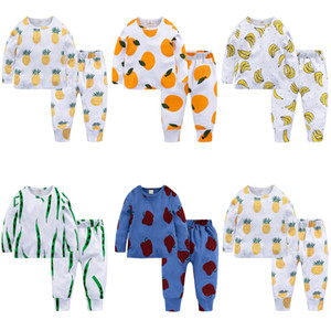 Sunma Kids Pajamas Children's Fruit Printed Nightwear Kids Clothing Cotton Children's Home Clothing Children's Pajama Suit 95% Cotton 58