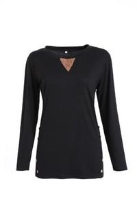 Farbe T-Shirt lose lange Hülsen-Rundhalsausschnitt-T-Shirts Fashion Street Lässige Kleidung Knopf Herbst Frauen Kontrast