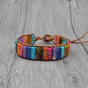 Classic Multi Colors Natural Stone Braided Brown Leather Wrap Bracelets Chakra Yoga Bohemian Jewelry Unisex Creative Gifts Dropshipping