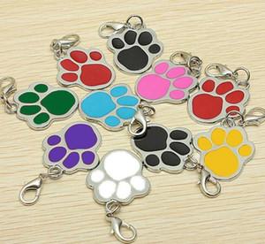 8 cores cão Cat Nome Pet Marca anel chave ID Card Keychain do filhote de cachorro Paw Print Pendant Titular da chave Dog Tag Atacado