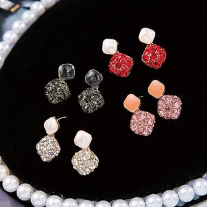 925 Pin orecchini d'argento per le donne di moda orecchino di aggancio di cerimonia nuziale brillante CZ zircone geometrica ciondola orecchini di goccia