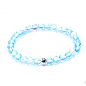 Joyería espectrolita la pulsera hecha a mano de moda arenoso de la rutina del grano de cristal Lucky Charm pulsera para muchachas de las mujeres al por mayor de regalo