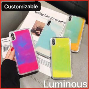 Customiable Qualität leuchtendes Neon Flüssiges Glitter Quicksand Telefon-Kasten-Abdeckung für iPhone 6 7 8 XS MAX Xr 11 Pro Samsung S8 S9 S10 Anmerkung 10 9 8