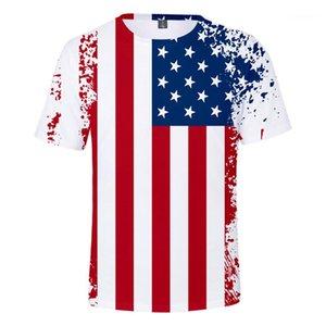 Образным вырезом с коротким рукавом Праздник тройники независимости США День Mens женщин Пара футболок Eagle Cat Животные Summer Tshirts O