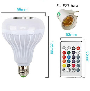 Smart RGBW Wireless Bluetooth Speaker Bulb 220V 110V 12W LED Lamp Light Music Player Dimmable Audio Remote Controller Lights