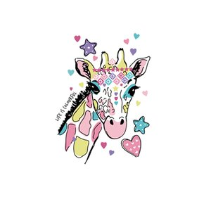 1PCS Cute Animal Giraffe Sticker Thermal Transfer For Decoration On Clothes Apparel Heat-sensitive Patch Horse Icon Printing