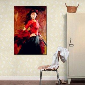 Handmade pittura a olio del ritratto di flamenco spagnolo ballerino donna moderna su tela per vivere decorazione della parete camera