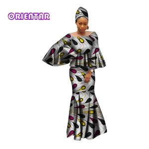 Африканские платьев для женщин 100% хлопка 2019 новых африканские мод Кенга clohing сукна выскочки 2 шт набора африканских одежды WY2809
